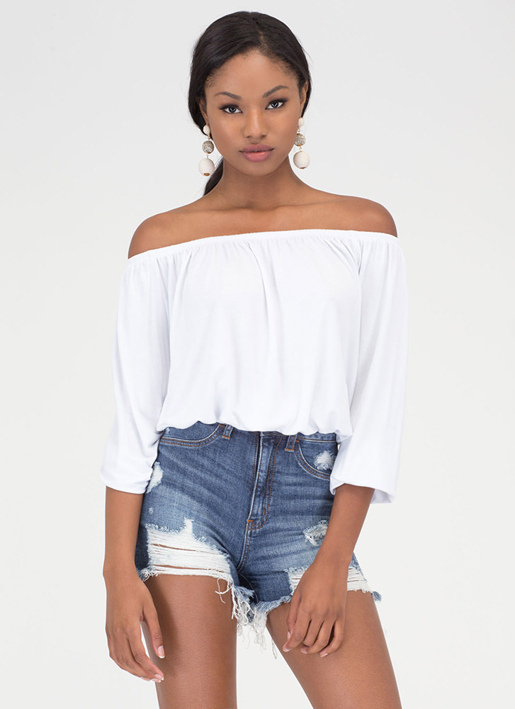 Totally Hooked Off-Shoulder Top WHITE