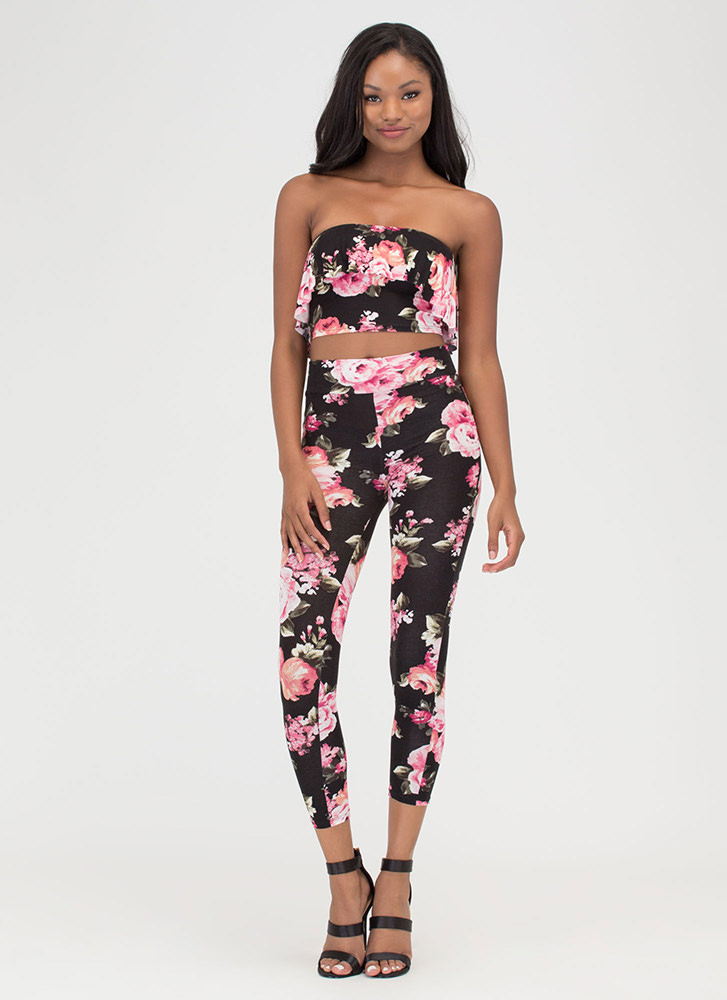 Fanciful Florals Two-Piece Jumpsuit BLACK