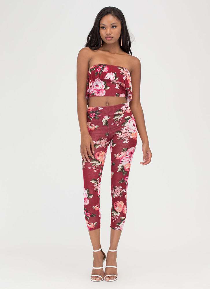 Fanciful Florals Two-Piece Jumpsuit BURGUNDY