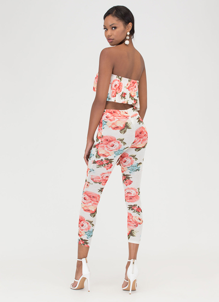 Fanciful Florals Two-Piece Jumpsuit IVORY