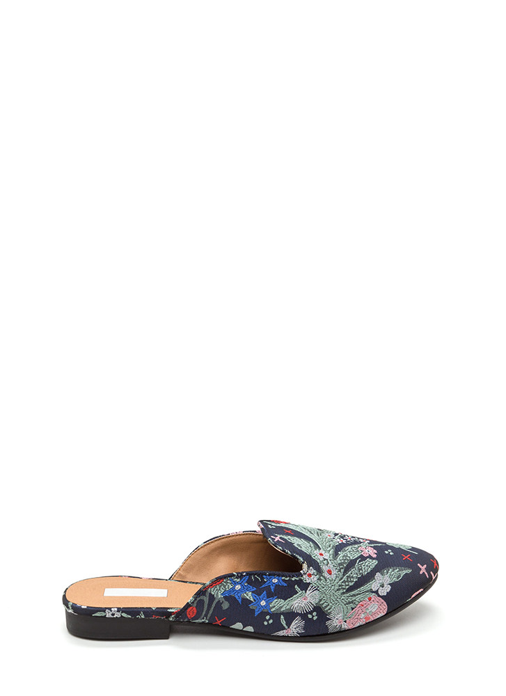 Floral Flow Embroidered Mule Flats NAVYMULTI