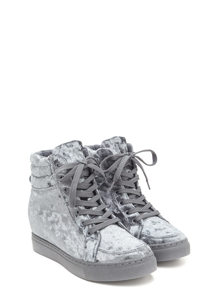 Crushed It Velvet High-Top Sneakers GREY
