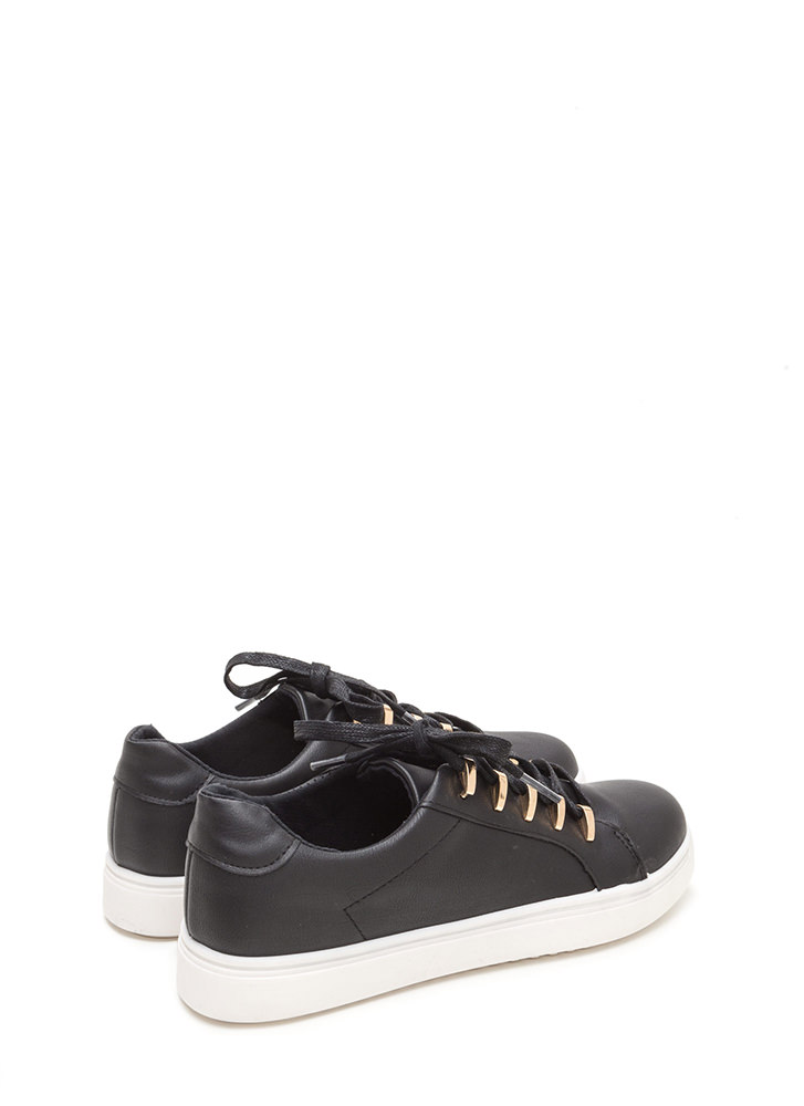 Raising The Bars Faux Leather Sneakers BLACK