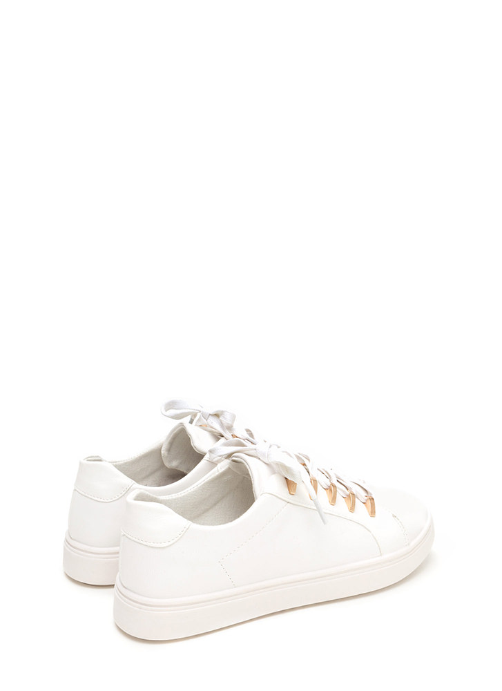 Raising The Bars Faux Leather Sneakers WHITE
