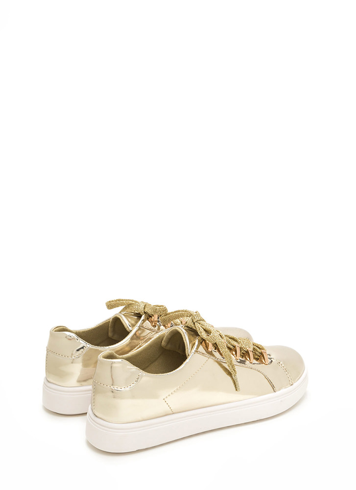 Raising The Bars Faux Patent Sneakers GOLD (Final Sale)