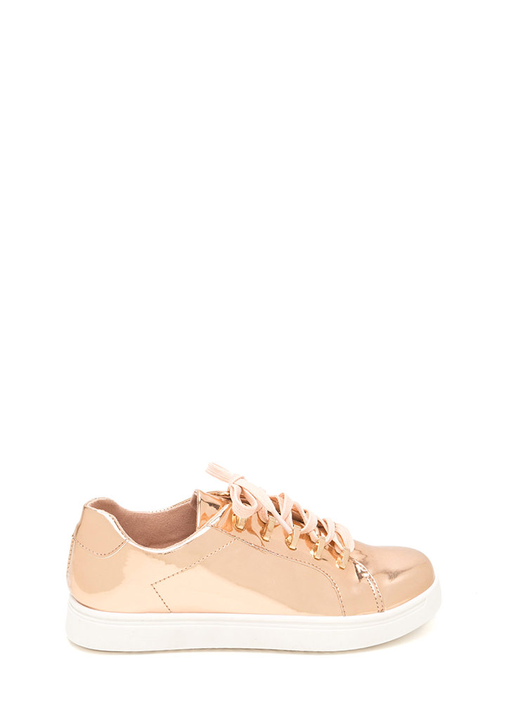 Raising The Bars Faux Patent Sneakers ROSEGOLD (Final Sale)