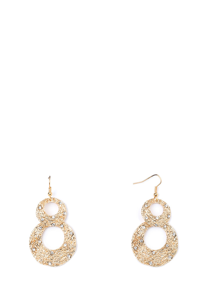 Organic Touch Textured Rhinestone Earrings GOLD (Final Sale)