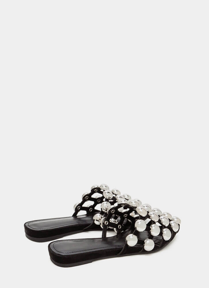 Dome Game Pointy Caged Slide Sandals BLACK