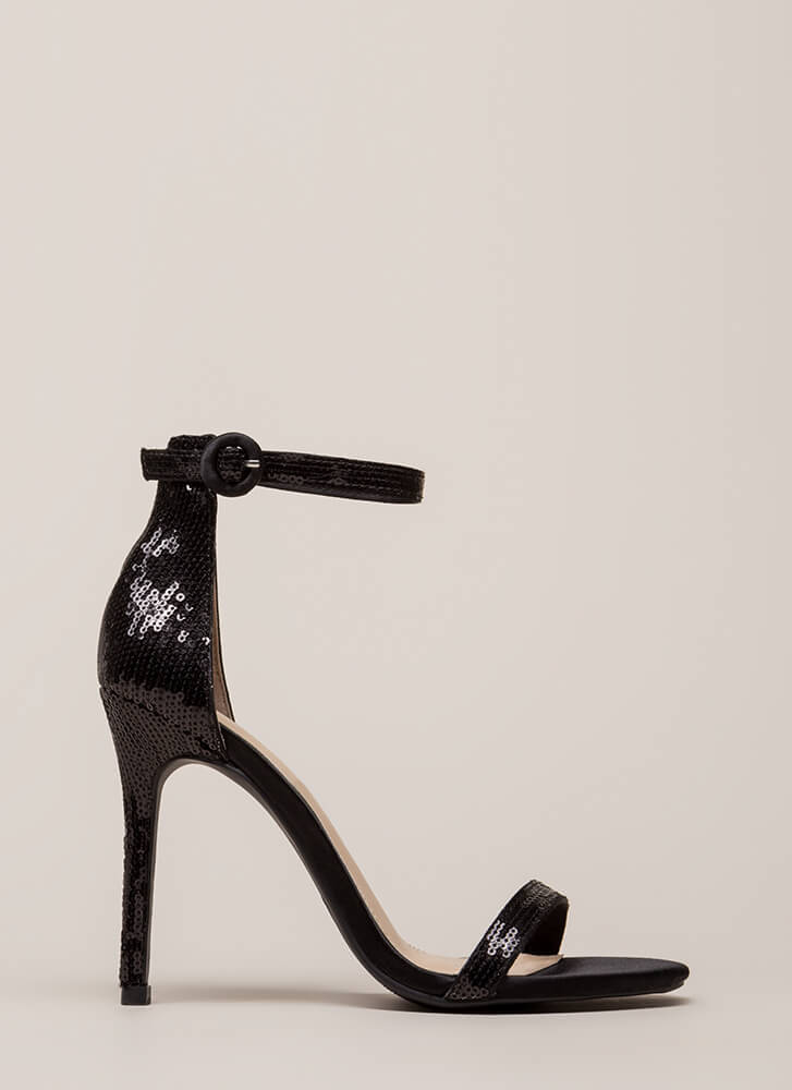 Fancy Footwork Strappy Sequined Heels BLACK