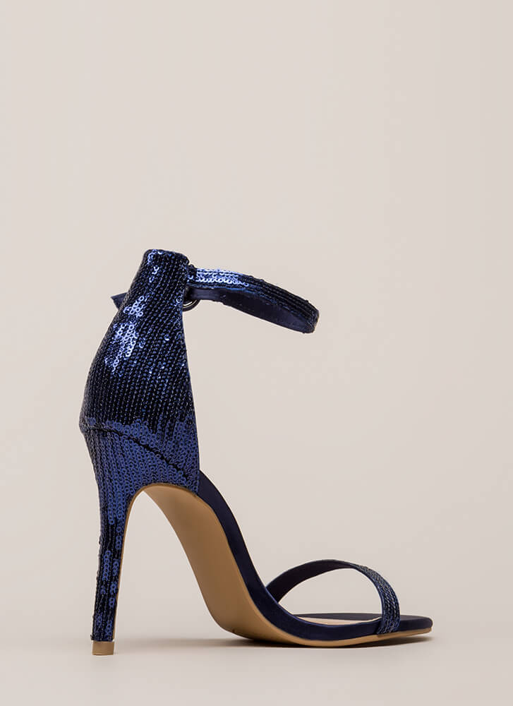 Fancy Footwork Strappy Sequined Heels BLUE (You Saved $16)