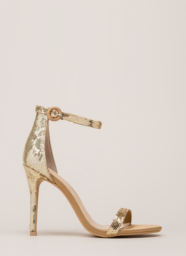 Fancy Footwork Strappy Sequined Heels GOLD