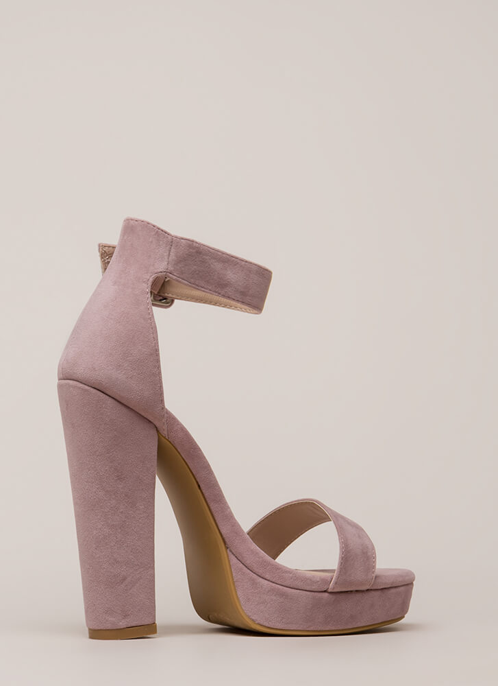 Buckled Beauty Chunky Platform Heels DUSTYPINK