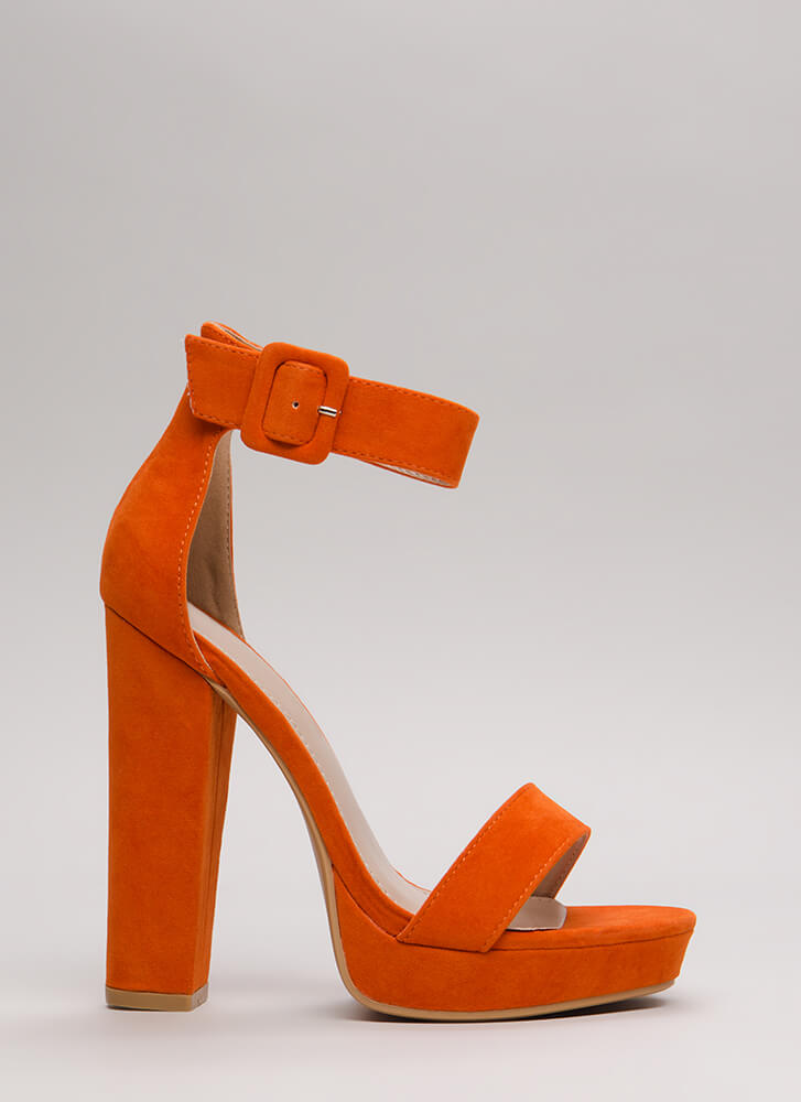 Buckled Beauty Chunky Platform Heels ORANGE