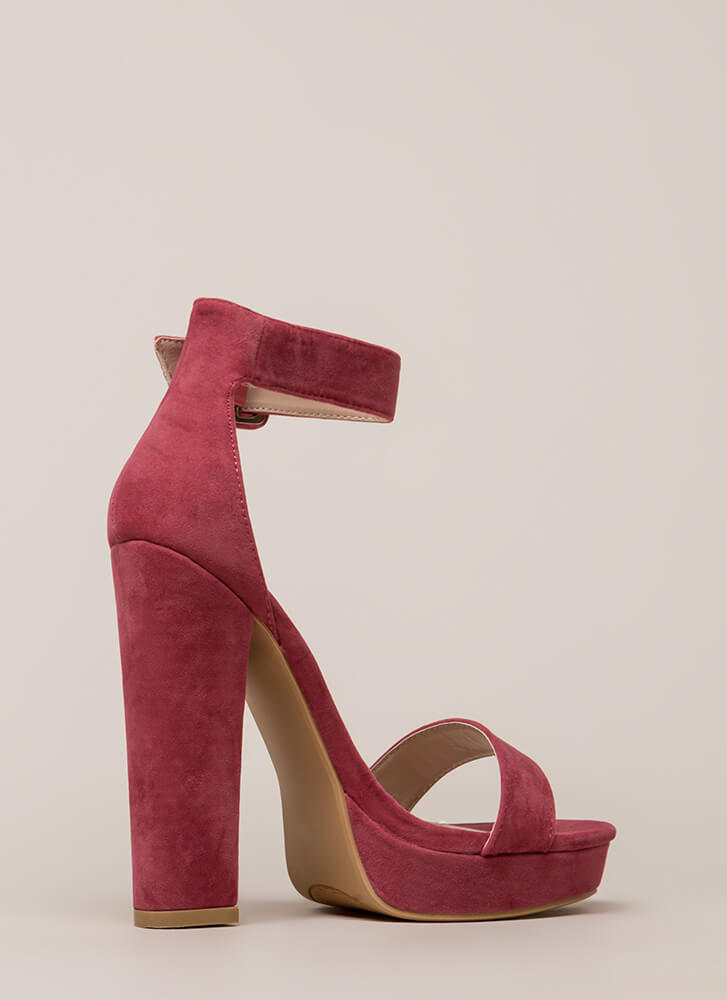 Buckled Beauty Chunky Platform Heels PLUM