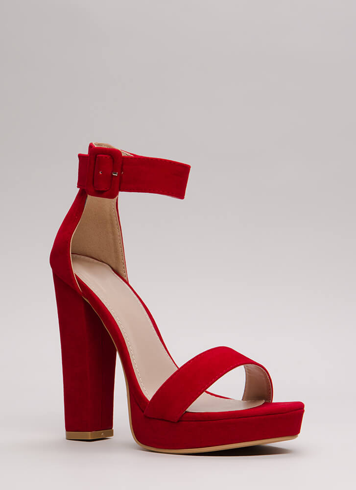 Buckled Beauty Chunky Platform Heels RED