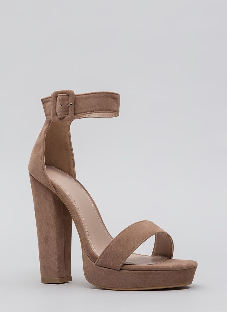 Buckled Beauty Chunky Platform Heels TAUPE