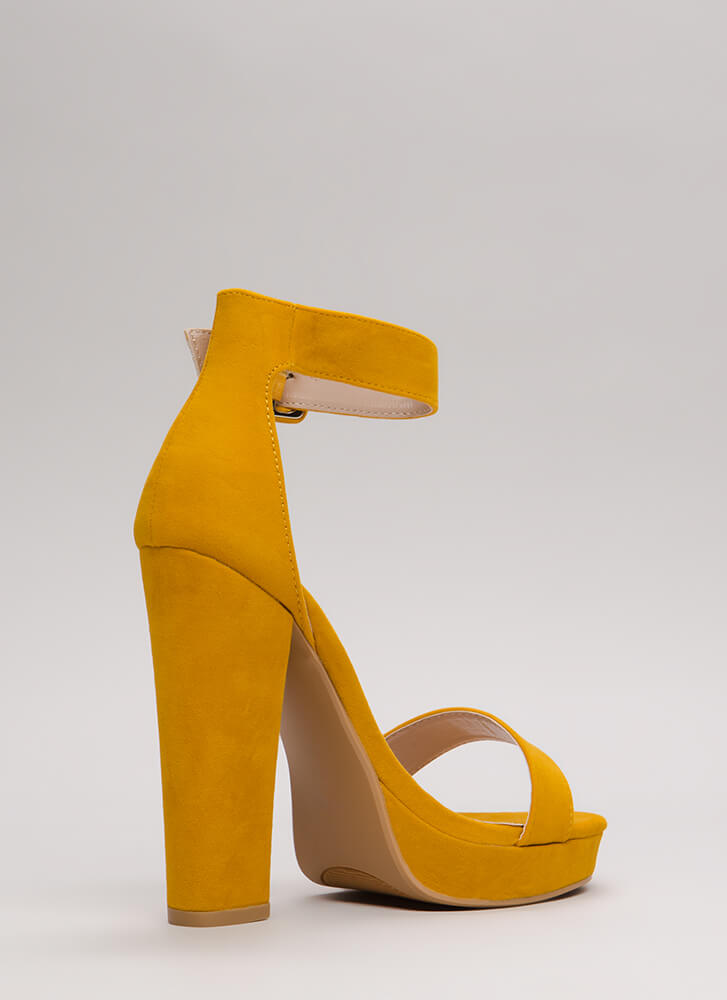 Buckled Beauty Chunky Platform Heels YELLOW