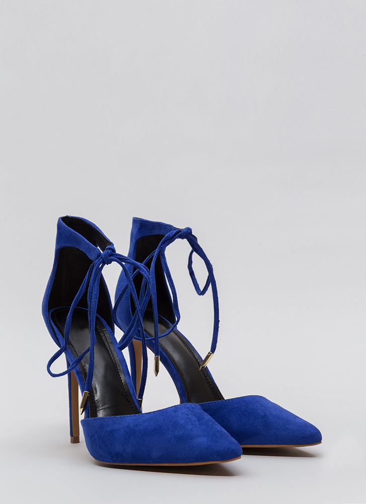 Point In The Right Lace-Up Heels BLUE