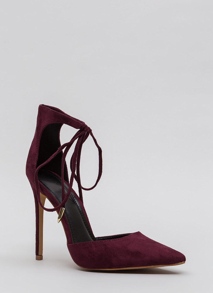 Point In The Right Lace-Up Heels BURGUNDY