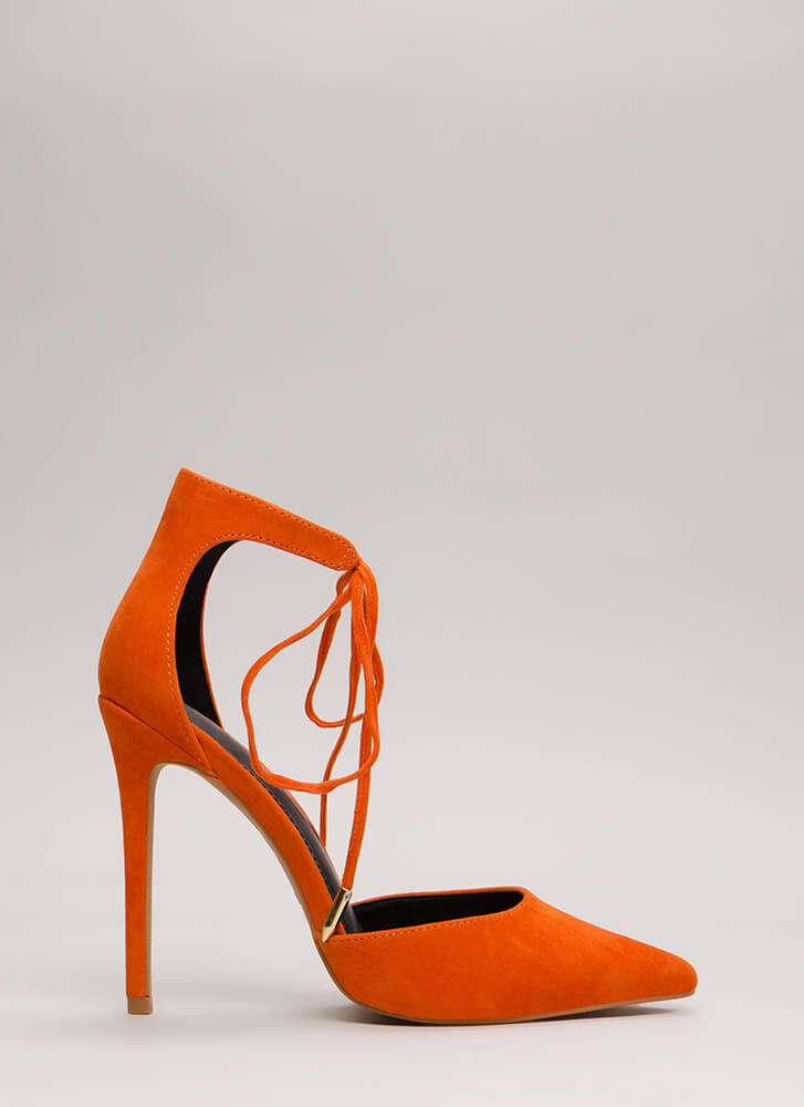Point In The Right Lace-Up Heels ORANGE