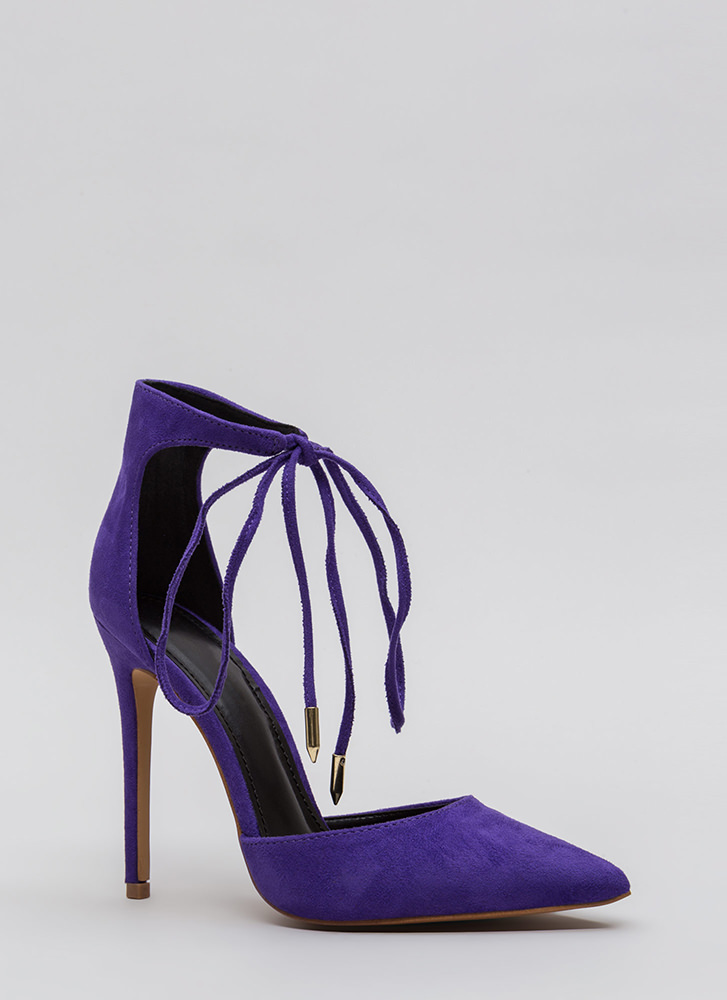 Point In The Right Lace-Up Heels TAUPE RED ORANGE PURPLE BLACK ...