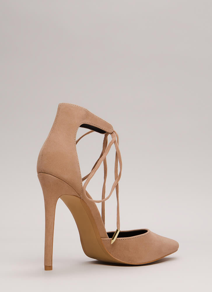 Point In The Right Lace-Up Heels TAUPE