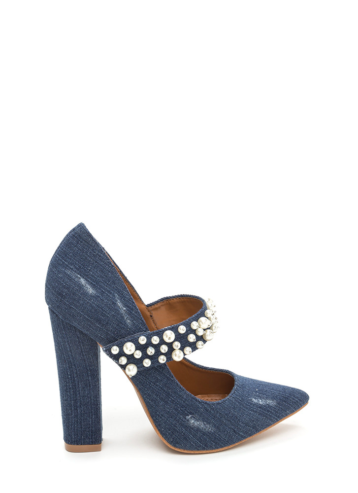 Mary Jane's Pearls Chunky Denim Pumps BLUE