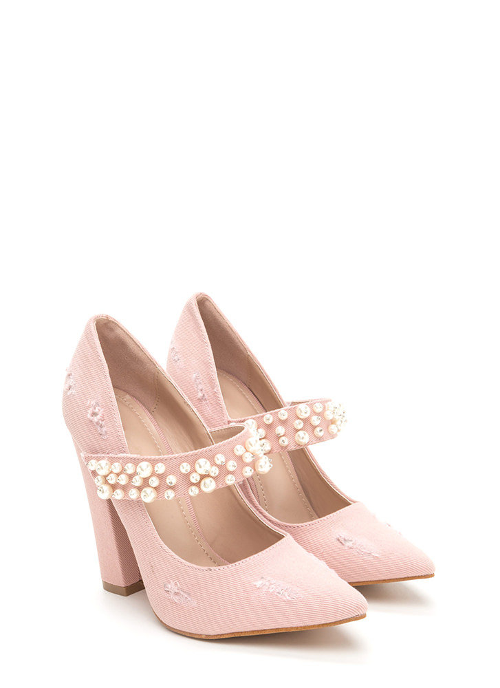 Mary Jane's Pearls Chunky Denim Pumps PINK