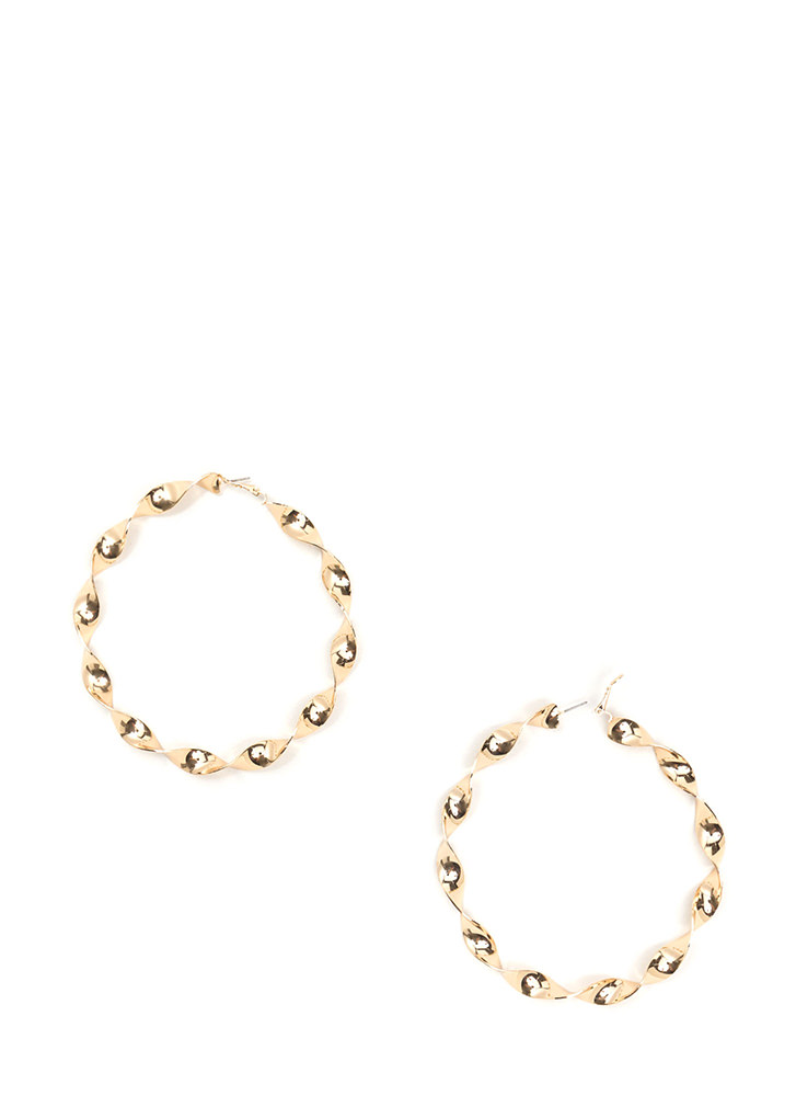 With A Twist Oversized Hoop Earrings GOLD
