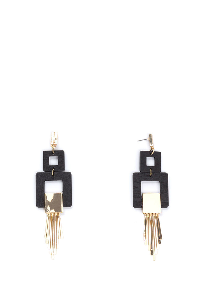 Square Root Fringed Earrings BLACKGOLD