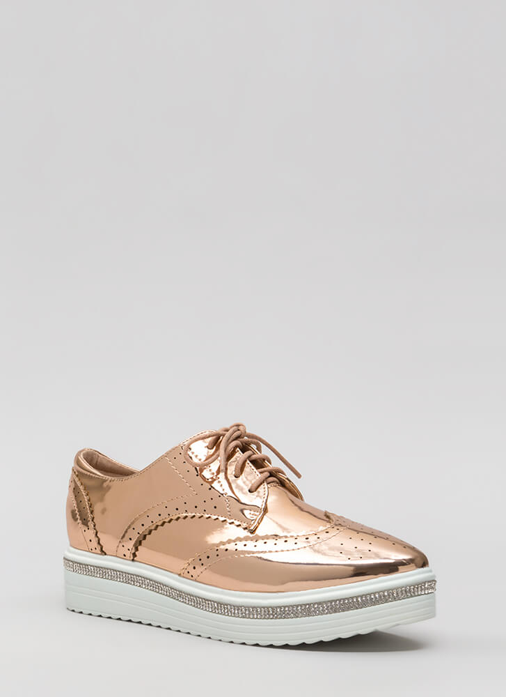 Have A Moment Shiny Oxford Platforms ROSEGOLD