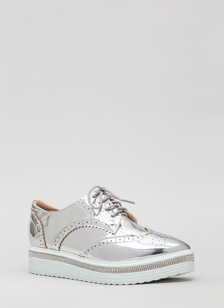 Have A Moment Shiny Oxford Platforms SILVER