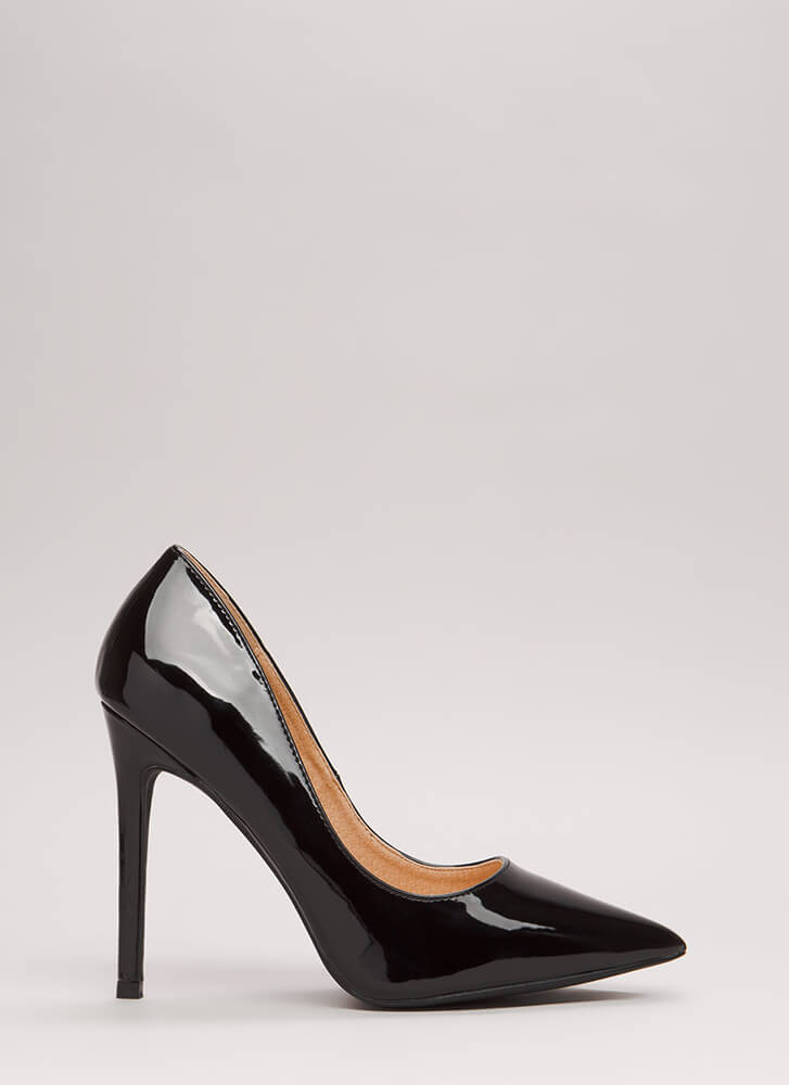 Believe In Basics Faux Patent Heels BLACK