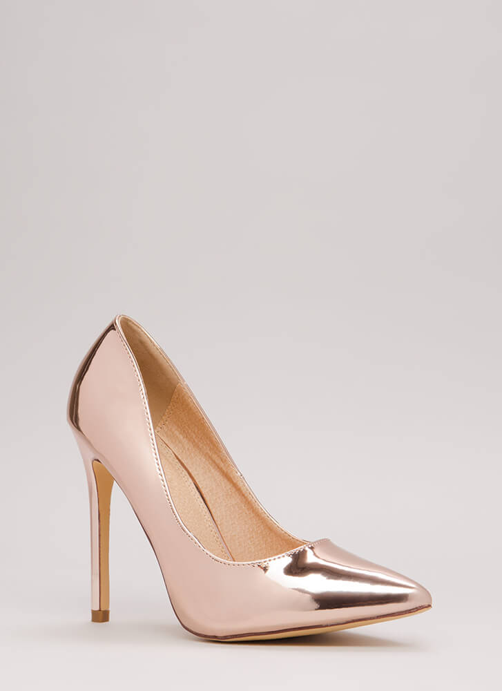 Basic Needs Pointy Faux Patent Pumps ROSEGOLD