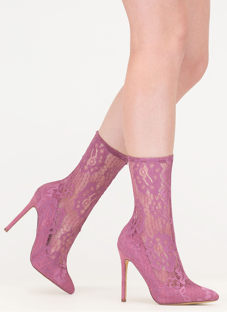 Lace The Game Sheer Pointy Booties DUSTYPINK