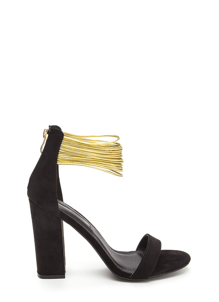 Cord Progression Chunky Faux Suede Heels BLACK