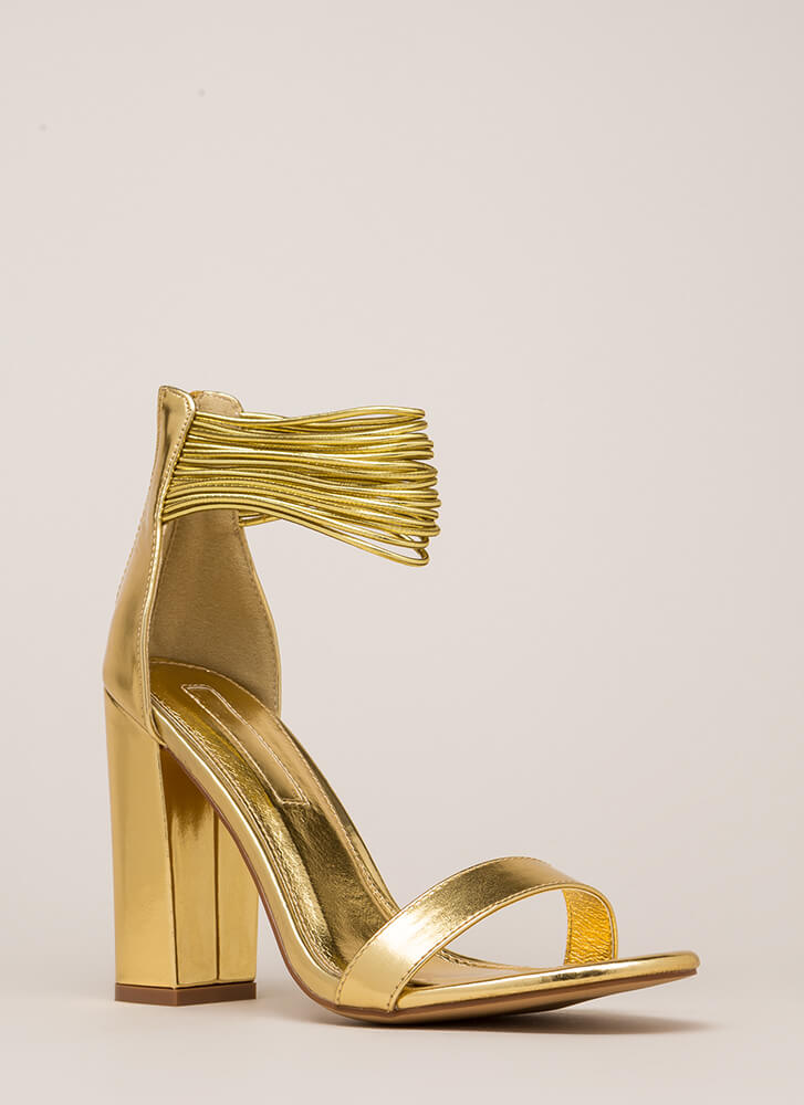Cord Progression Chunky Metallic Heels GOLD