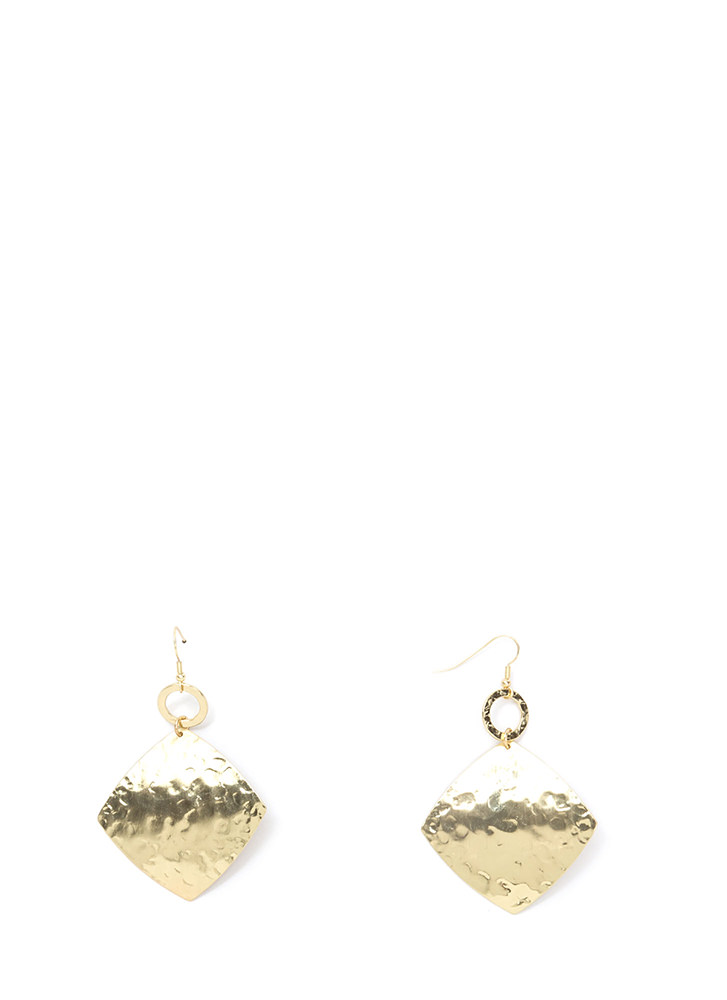 Play With Texture Hammered Earrings GOLD
