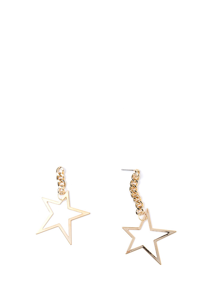 Star Power Asymmetrical Earrings GOLD
