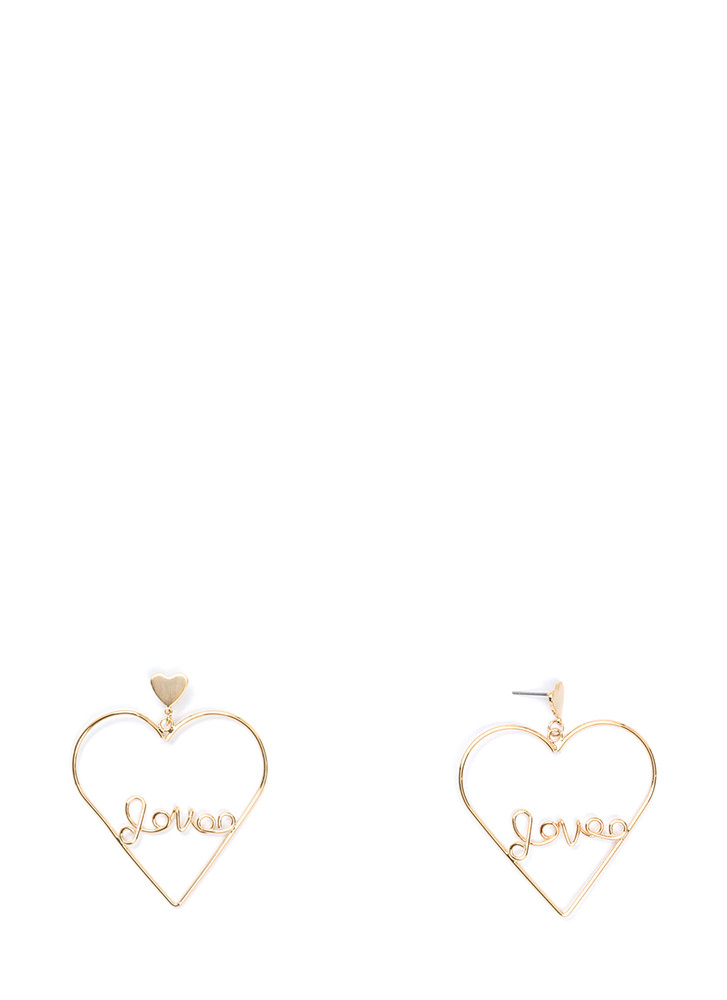 Love Myself Heart Statement Earrings GOLD (Final Sale)