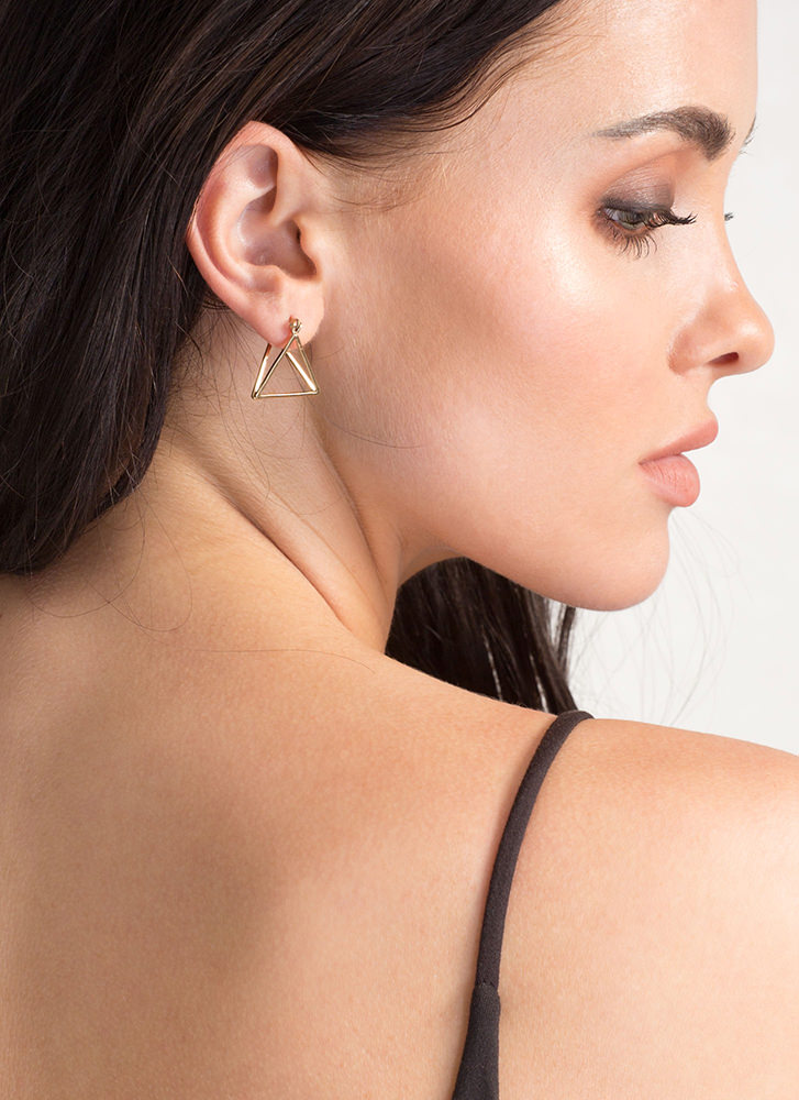 Fresh Dimension Triangle Earrings GOLD