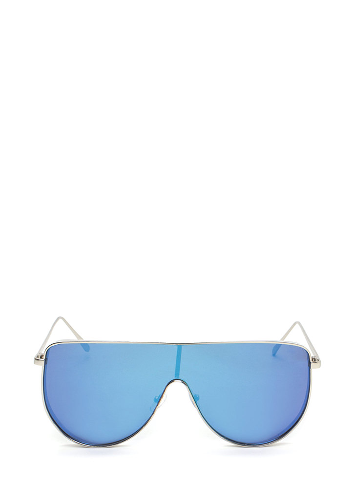 Sporty Lifestyle Flat Shield Sunglasses BLUE
