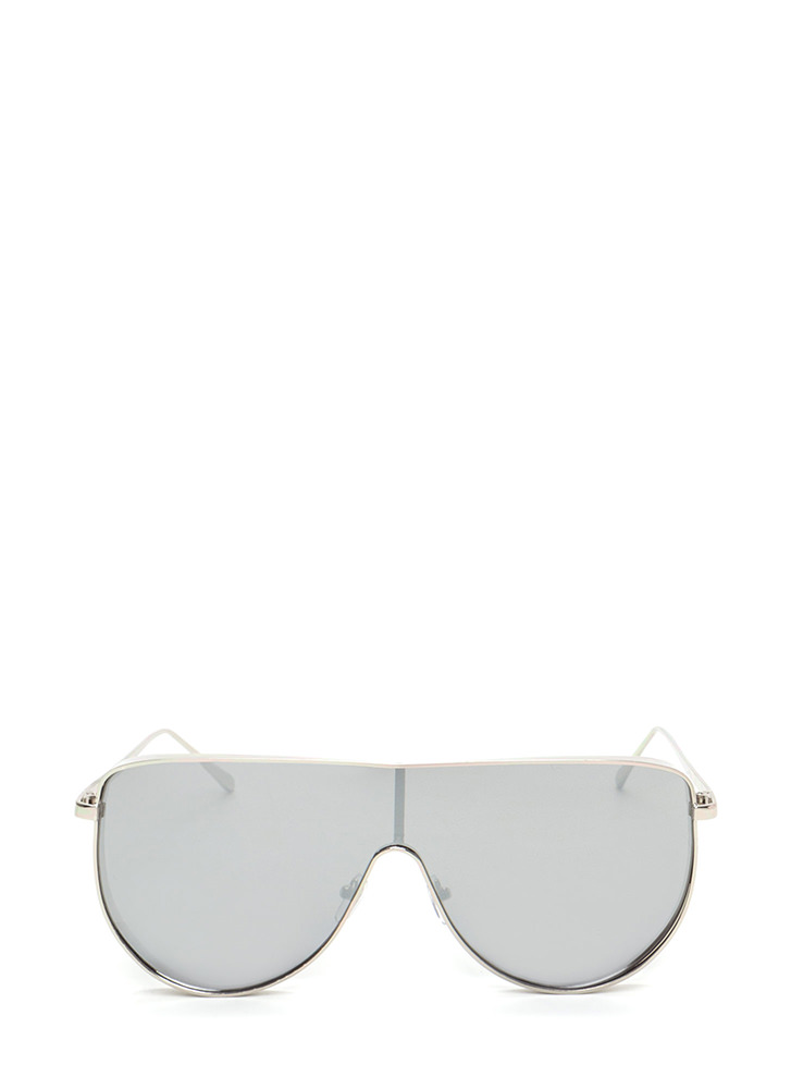 Sporty Lifestyle Flat Shield Sunglasses SILVER