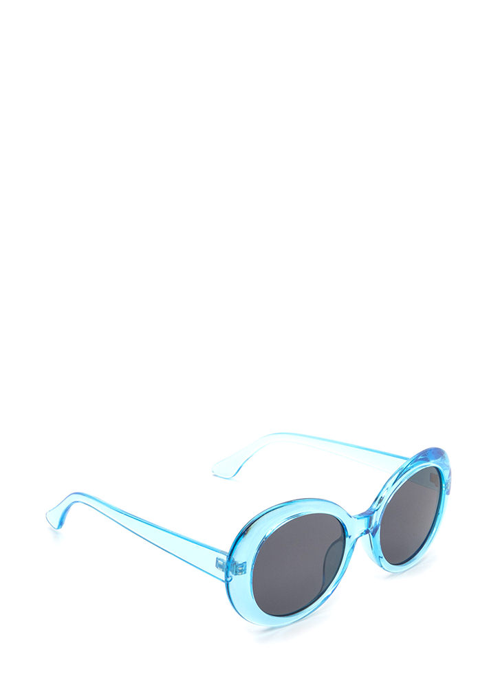Clear As Day Retro Oval Sunglasses BLUE