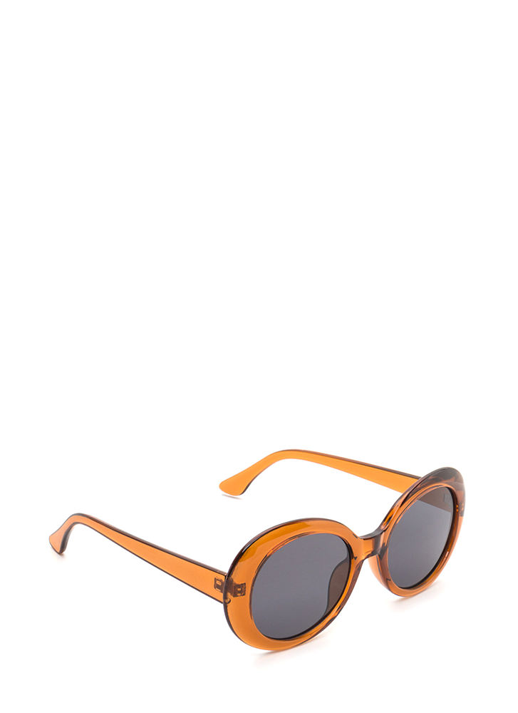 Clear As Day Retro Oval Sunglasses BROWN
