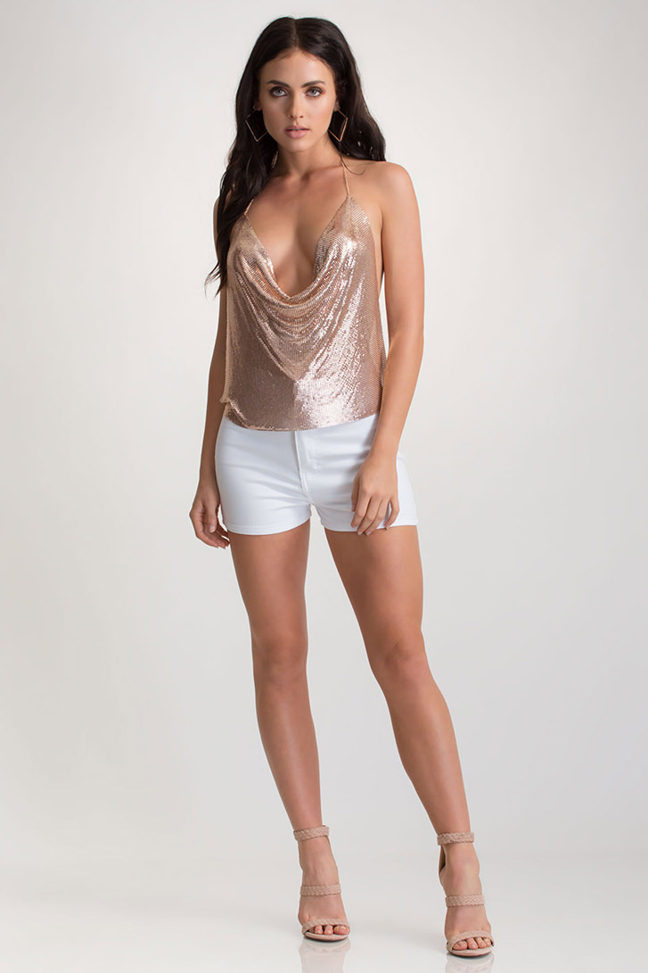Full Gleam Ahead Chainmail Halter Top ROSEGOLD