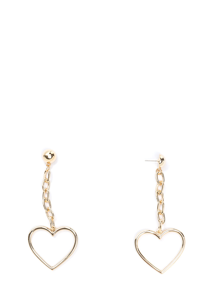 Take To Heart Chain Earrings GOLD
