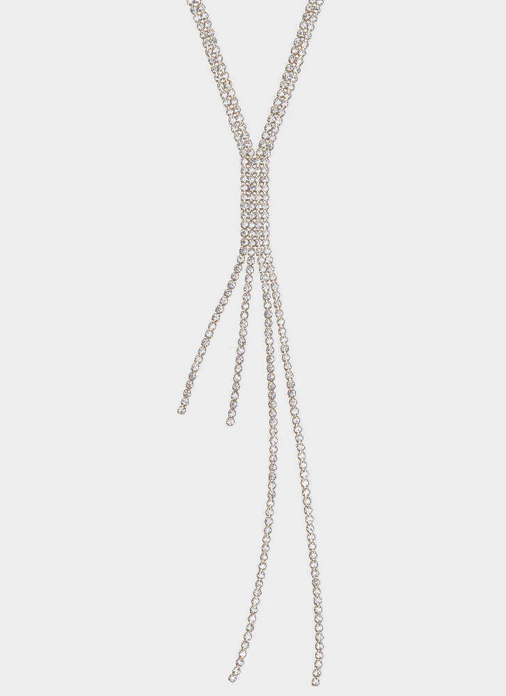 Join The Party Rhinestone Y-Necklace GOLD