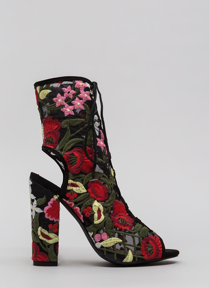 Petal Power Sheer Embroidered Booties BLACK