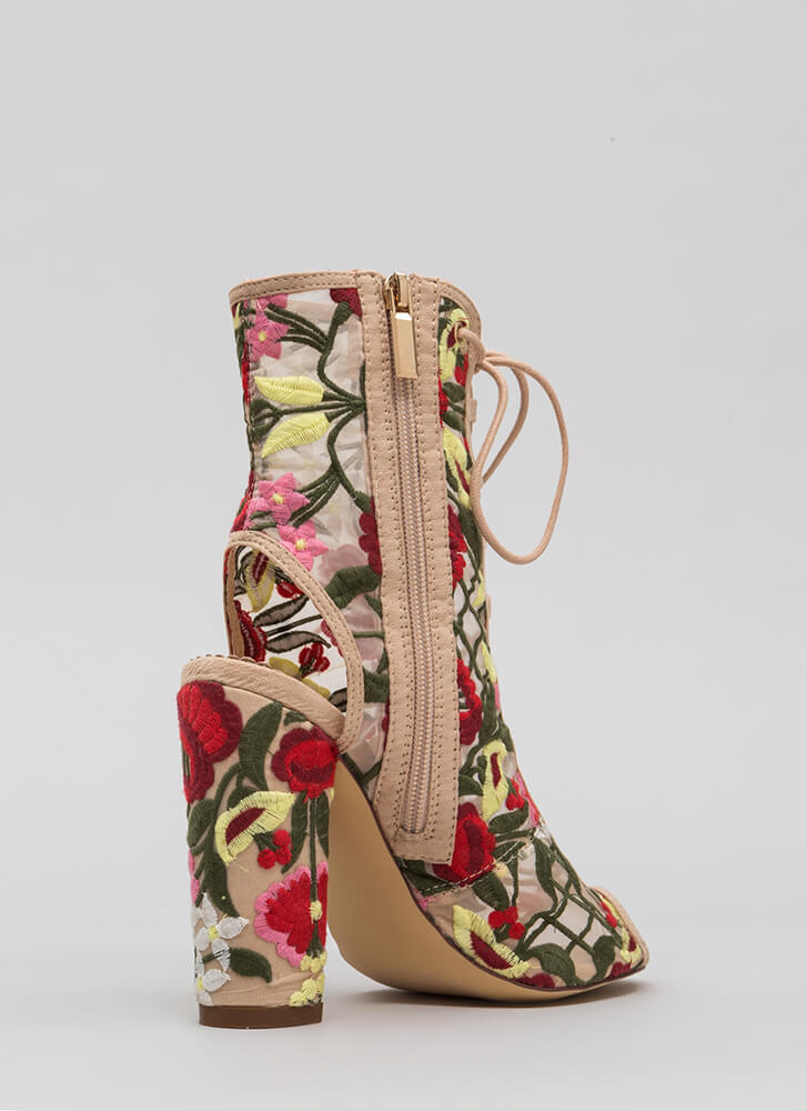 Petal Power Sheer Embroidered Booties NUDE